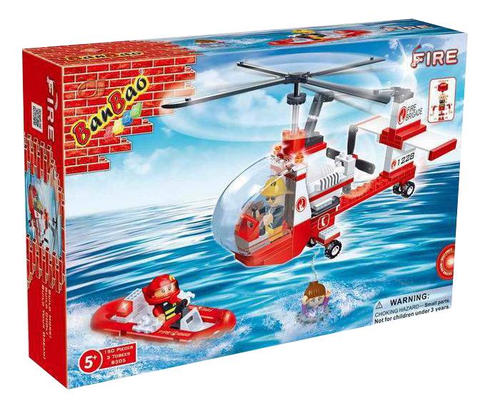 Конструктор пластиковый BanBao Пожарный Вертолет, 150 деталей