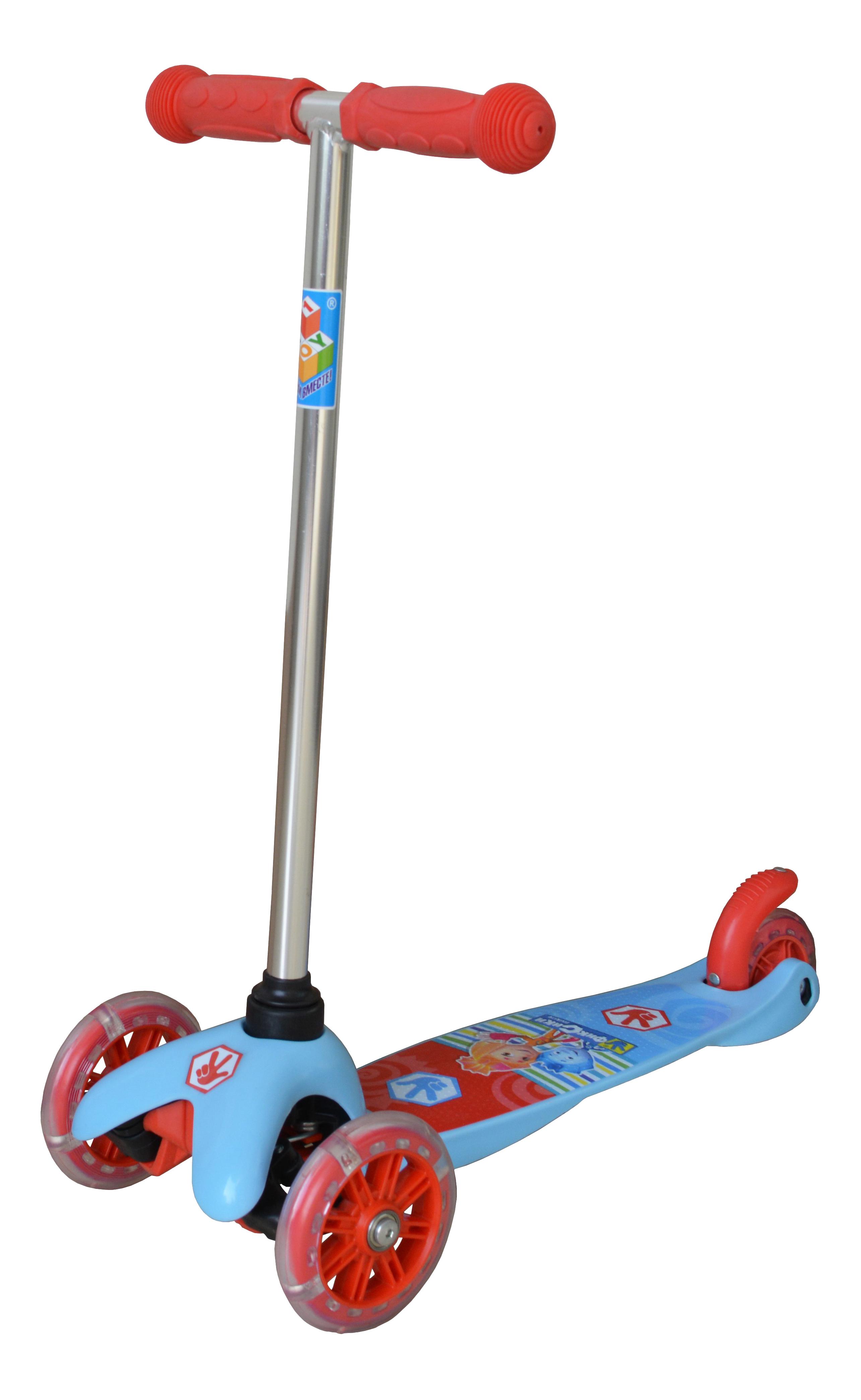 Купить Самокат трехколесный 1 Toy Фиксики Т58463 голубой, Самокаты детские трехколесные