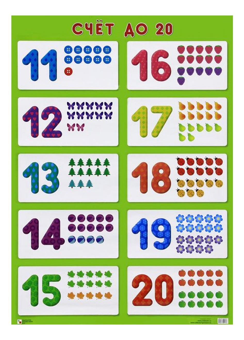Купить Интерактивный плакат Мозаика-Синтез Счет до 20, Подготовка к школе