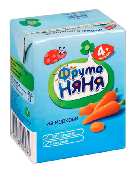 Купить Морковь с мякотью 200 мл, Нектар ФрутоНяня Морковь с мякотью с 4 мес 200 мл, Детские напитки