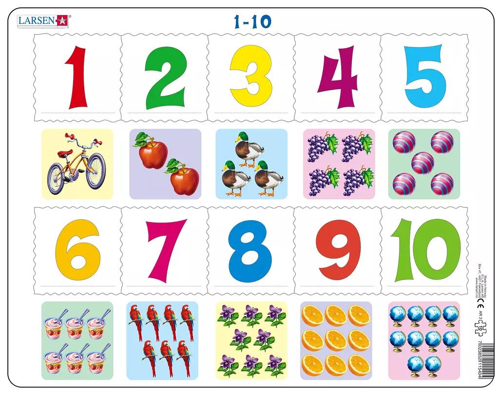 1-10, Пазлы Larsen обучающий Математика От 1 до 10 10 элементов AR3  - купить со скидкой