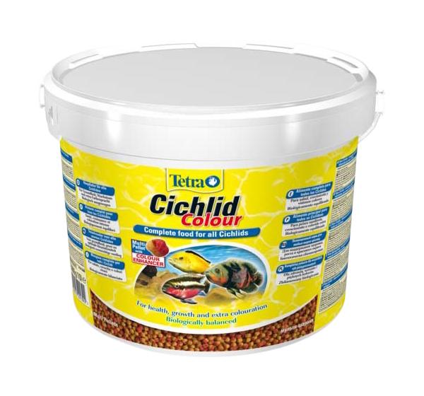 Корм для всех видов цихлид Tetra Cichlid Colour, для улучшения окраса, гранулы, 10 л