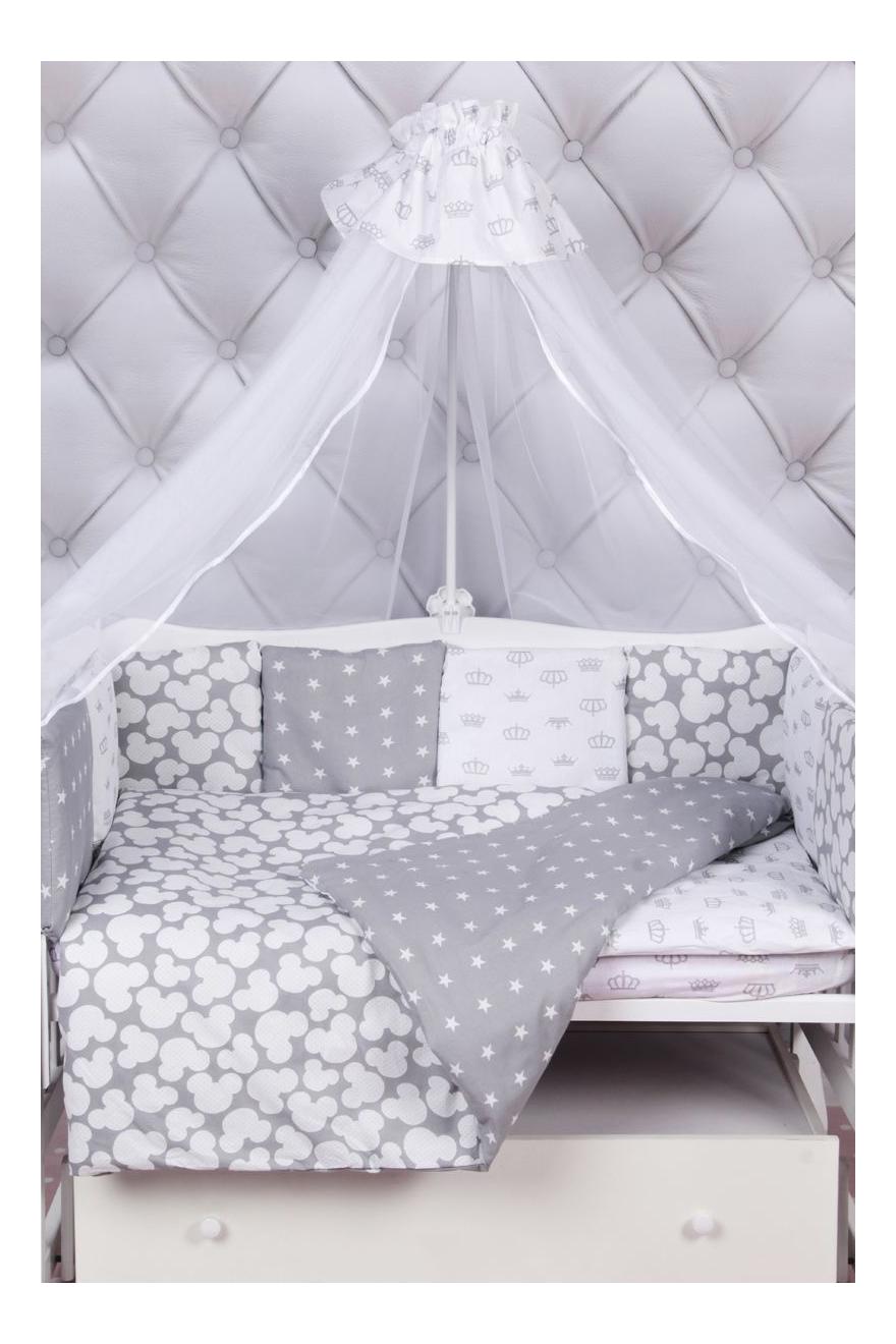 Купить Amarobaby Silver 18 предметов серый, Комплект в кроватку Комплект в кроватку Silver 18 предметов серый Amarobaby, Комплекты детского постельного белья