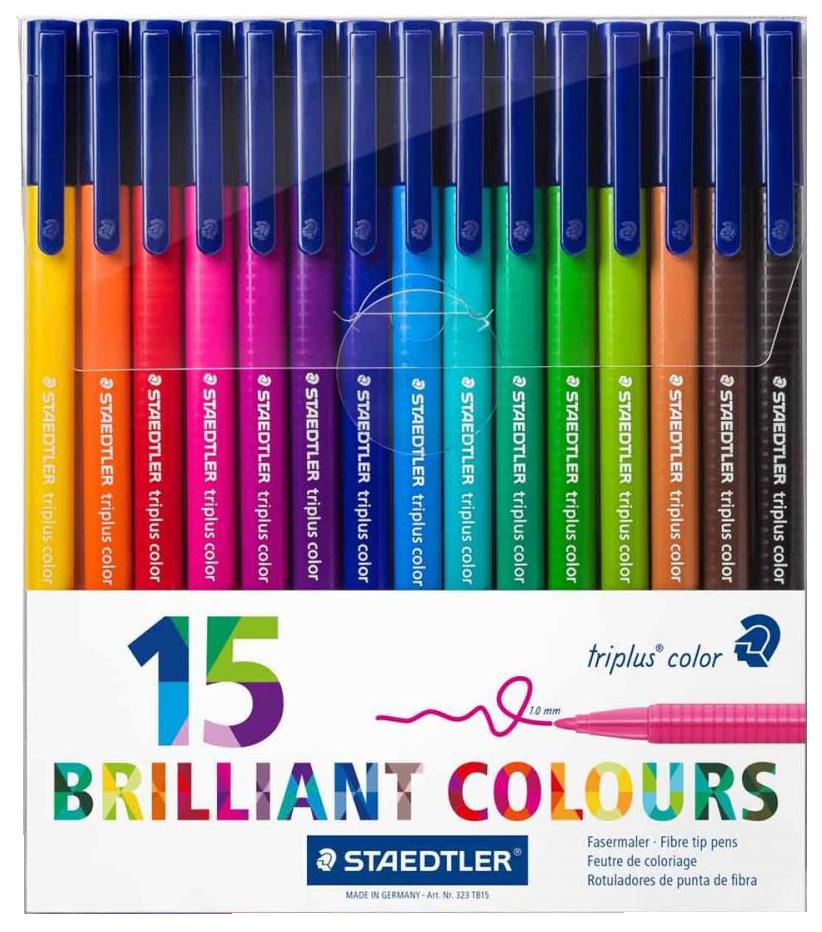 Купить 323 Яркие цвета, Набор фломастеров Staedtler Triplus Сolor Яркие цвета 15 цветов, Фломастеры