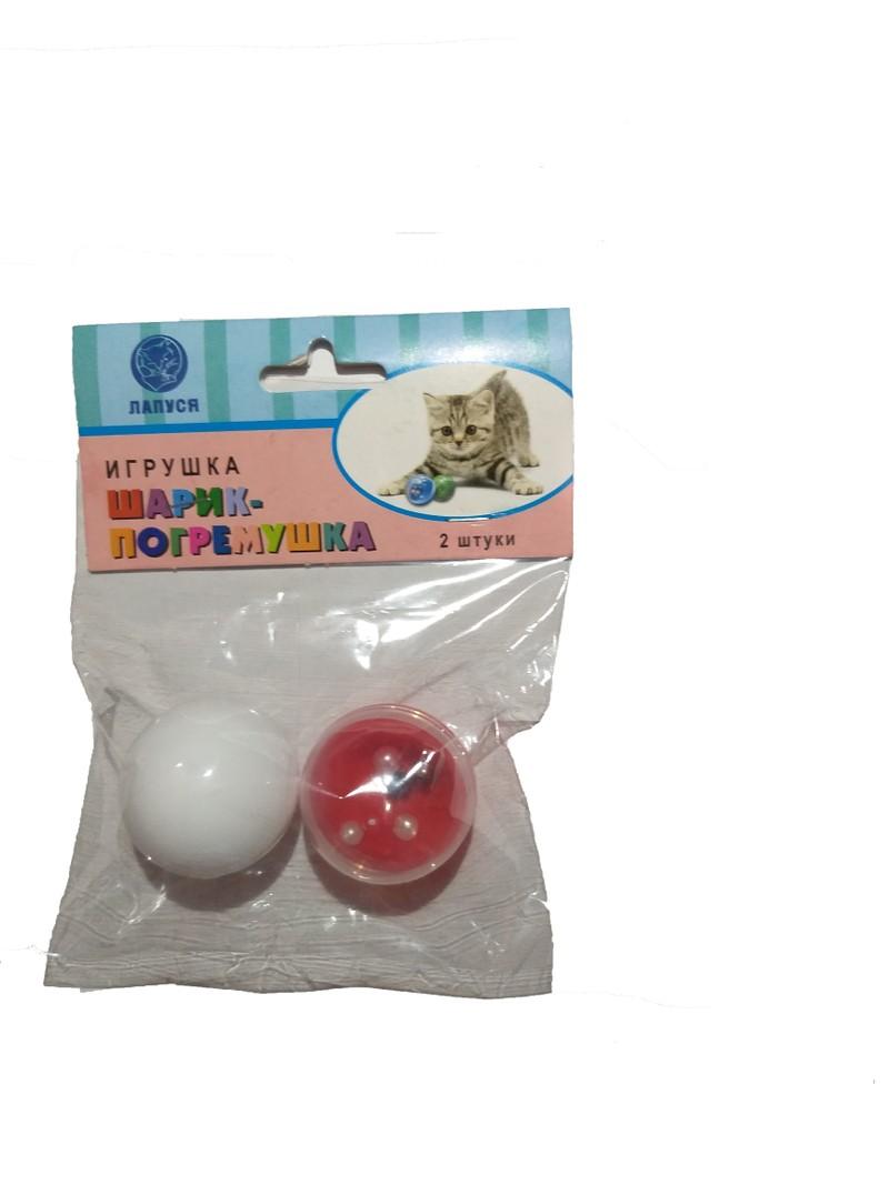 Игрушка для кошек Лапуся, погремушка шарик, белый/красный,