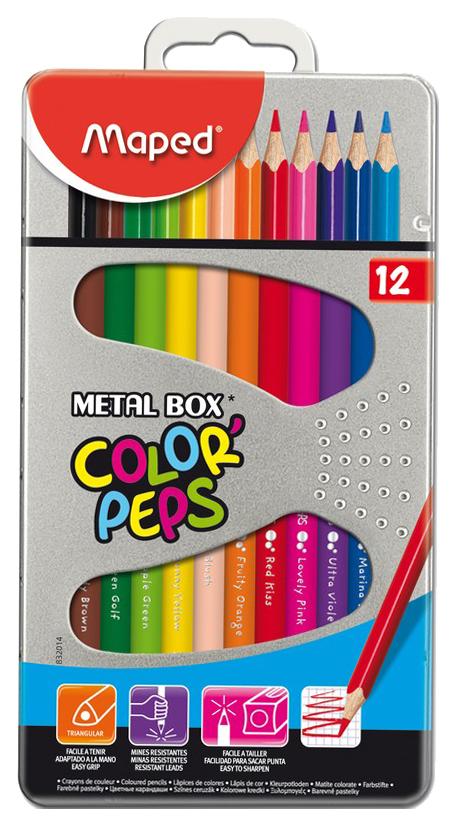 Купить -, Карандаши цветные COLOR'PEPS треугольные 12 цветов MAPED, Цветные карандаши
