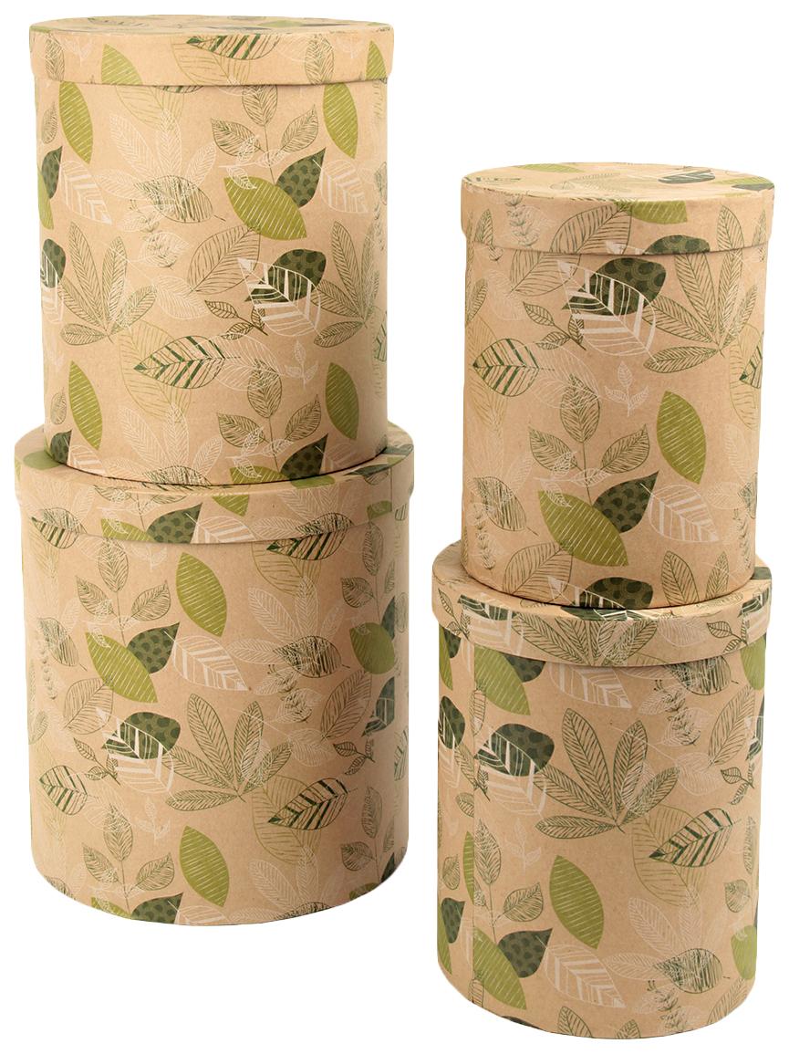 Набор подарочных картонных коробок Листопад, 4 шт. от 23x23x25 см до 15x15x20 см