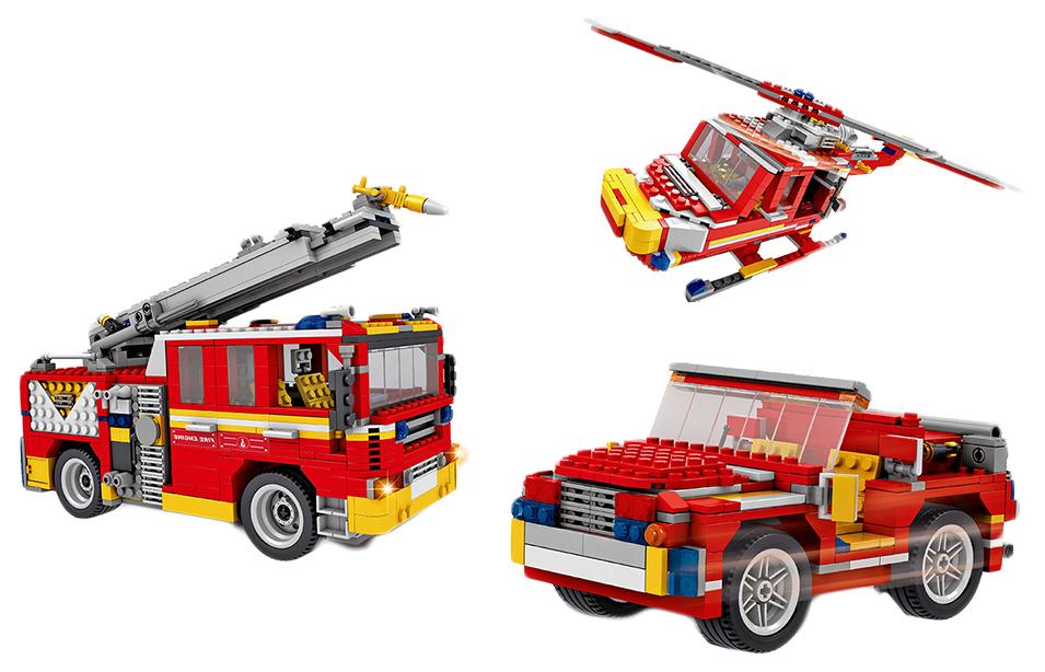 Купить Конструктор Ausini пожарная команда, 3 варианта сборки, 832 детали, Конструкторы пластмассовые