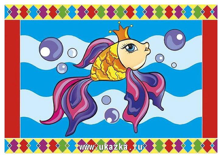 Гравюра Рыжий кот А5 с цветным основанием Рыбка