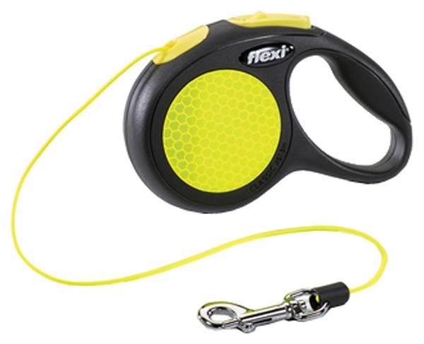 Поводок-рулетка Flexi Neon Safety Plus  трос (3 м/8 кг)
