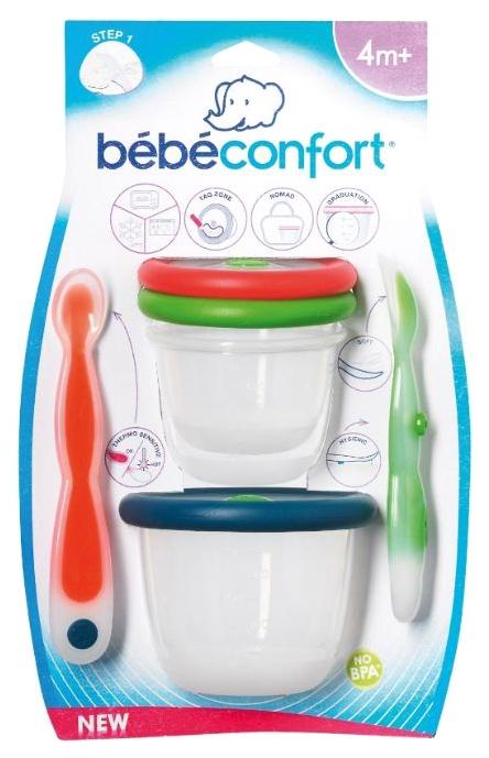 Набор Bebe Confort: 2 ложки, 2 контейнера