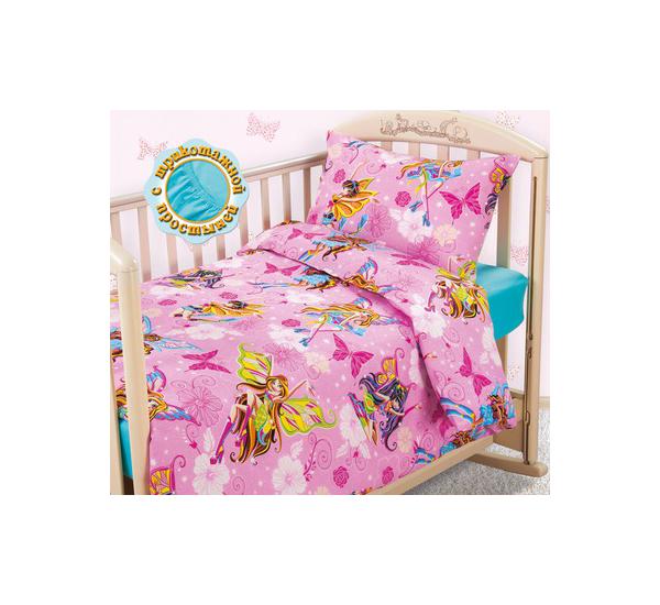 Комплект детского постельного белья Текс-Дизайн с трикотажной простыней Волшебницы бязь