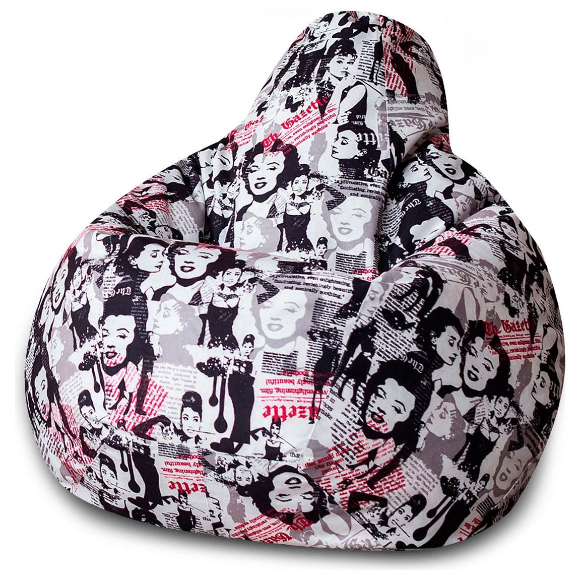 Кресло-мешок DreamBag Леди, размер XL, жаккард, белый; красный; черный фото
