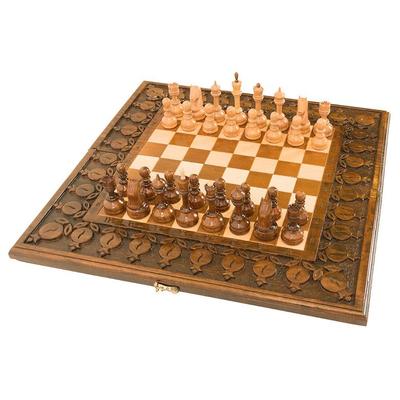 Купить Шахматы и нарды резные Haleyan, с гранатами 50,