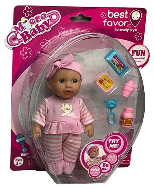 Купить Пупс Junfa 2805A 15 см, в розовой одежде, с аксессуарами, Junfa toys, Пупсы