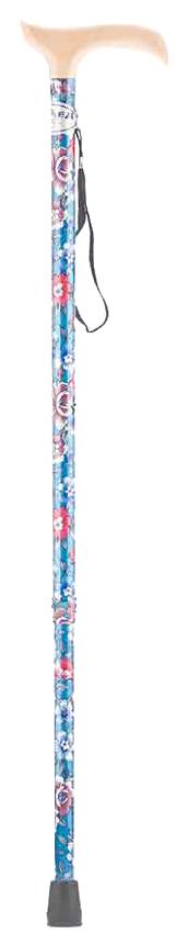 Купить Трость Армед YU821 с УПС светло-синий с цветами светлое дерево, Armed