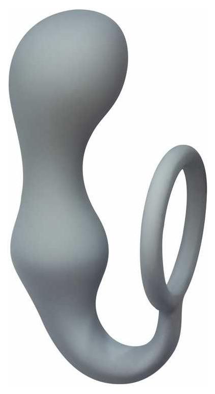 Эрекционное кольцо Lola Toys Double Pleasure Anal Plug с анальной пробкой серый