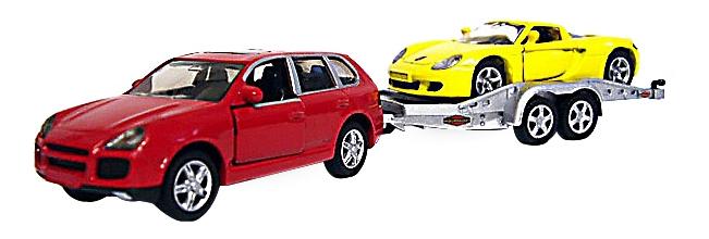 Купить Машина с прицепом и спортивной машиной, Коллекционная модель Siku Porsche Cayenne Turbo с прицепом и Porsche GT 2544, Коллекционные модели