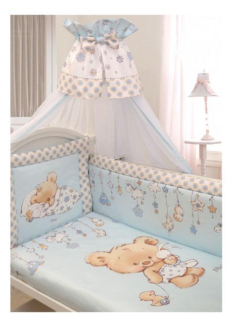 Комплект в кроватку Золотой гусь Mika сатин 7 предметов голубой