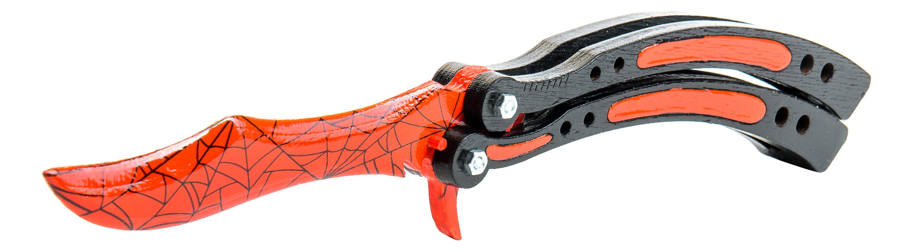 Игрушечный нож-бабочка MASKBRO Кровавая паутина фото