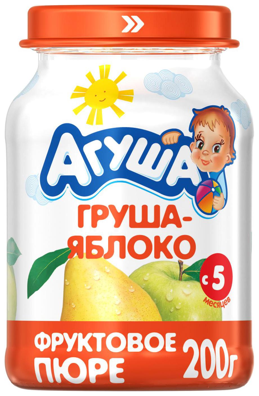 Купить Груша-яблоко 200 г, Пюре фруктовое Агуша Груша-яблоко с 5 мес 200 г, Детское пюре