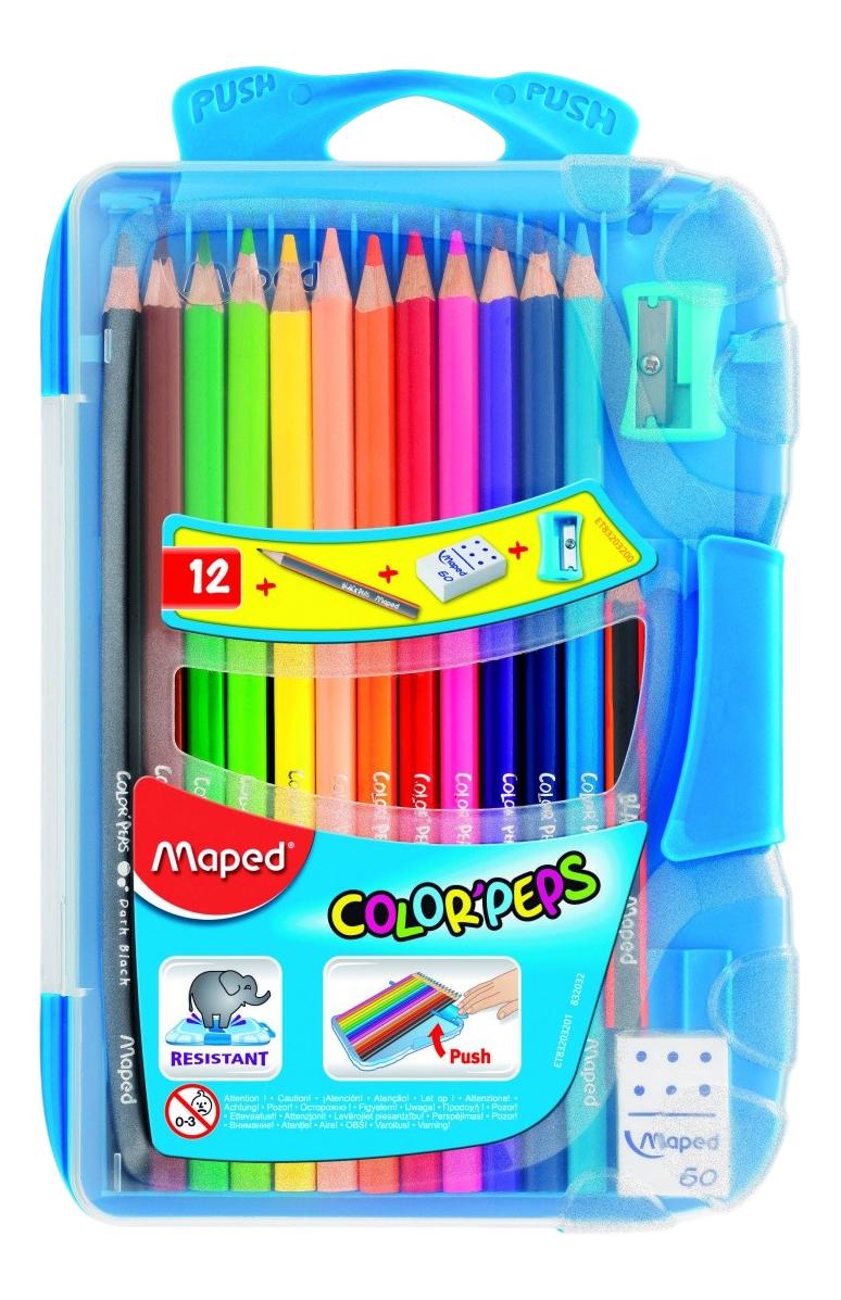 Купить -, Карандаш цвет.COLOR'PEPS, пл.пенал, 12цв+точил+ласт+ч/г каранд, Maped, Карандаши