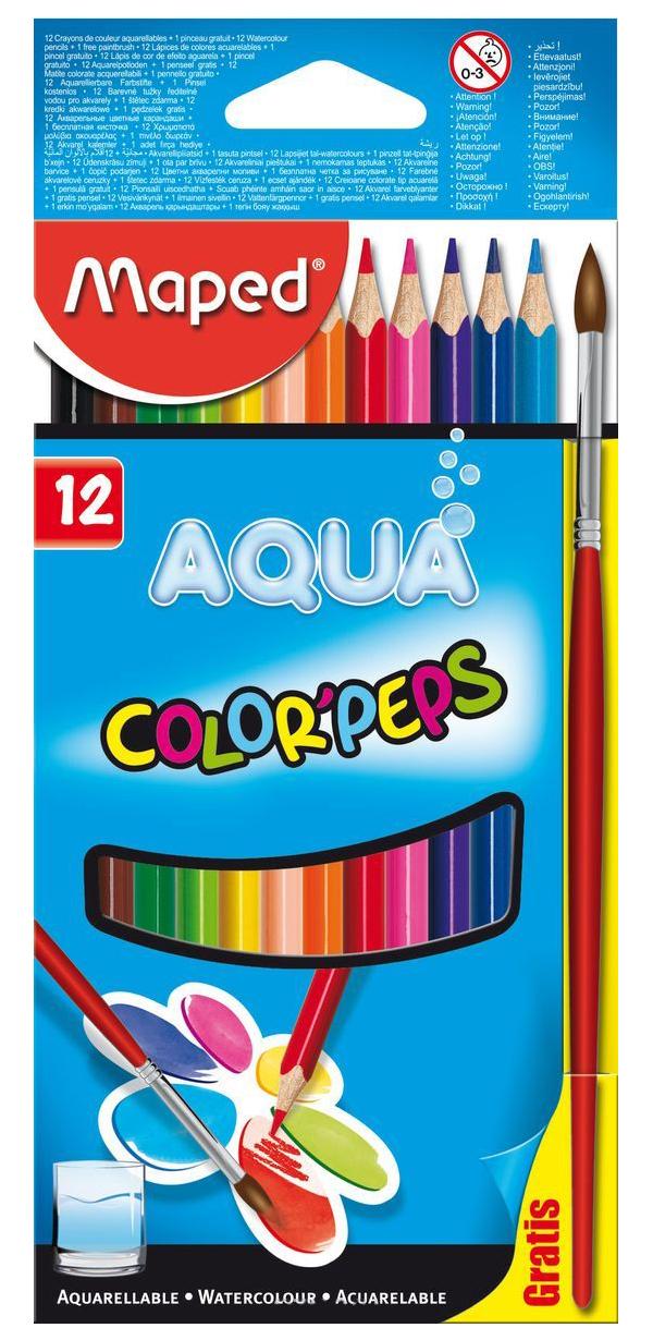 Купить Карандаши цветные Maped Color Peps Aqua акварельные 12 цветов + кисть, Цветные карандаши