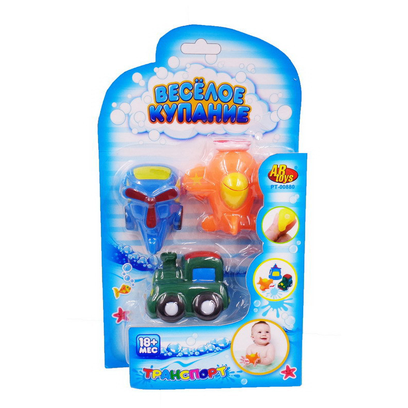 Купить Набор ABtoys резиновых игрушек для ванной Веселое купание, 3 предмета, Игрушки для купания малыша