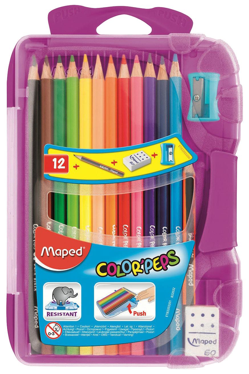 Купить -, Карандаш цвет.COLOR'PEPS, пл.пенал, 12цв+точил+ласт+ч/г каранд, Maped, Цветные карандаши