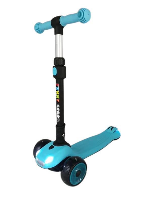 Купить Самокат Funny Scoo MS-957 Evo голубой, Самокаты детские трехколесные