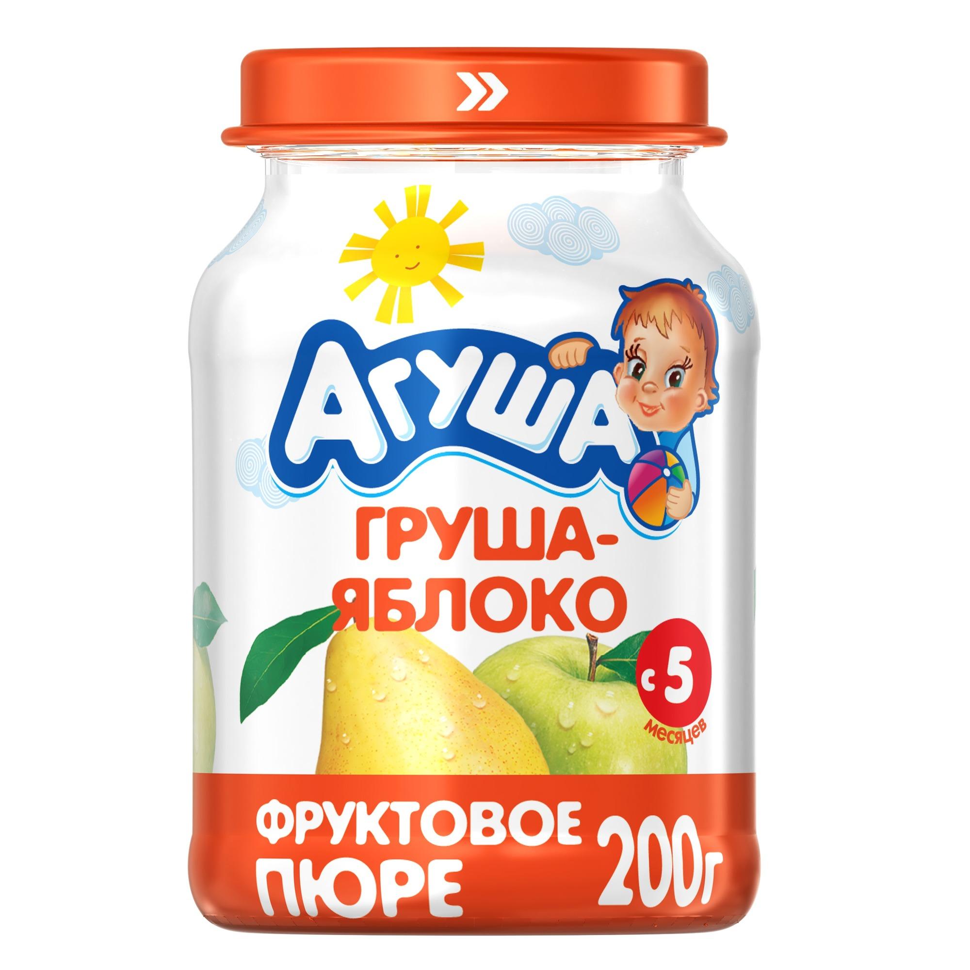 Купить Пюре фруктовое Агуша Груша-яблоко с 5 мес. 200 г, Фруктовое пюре