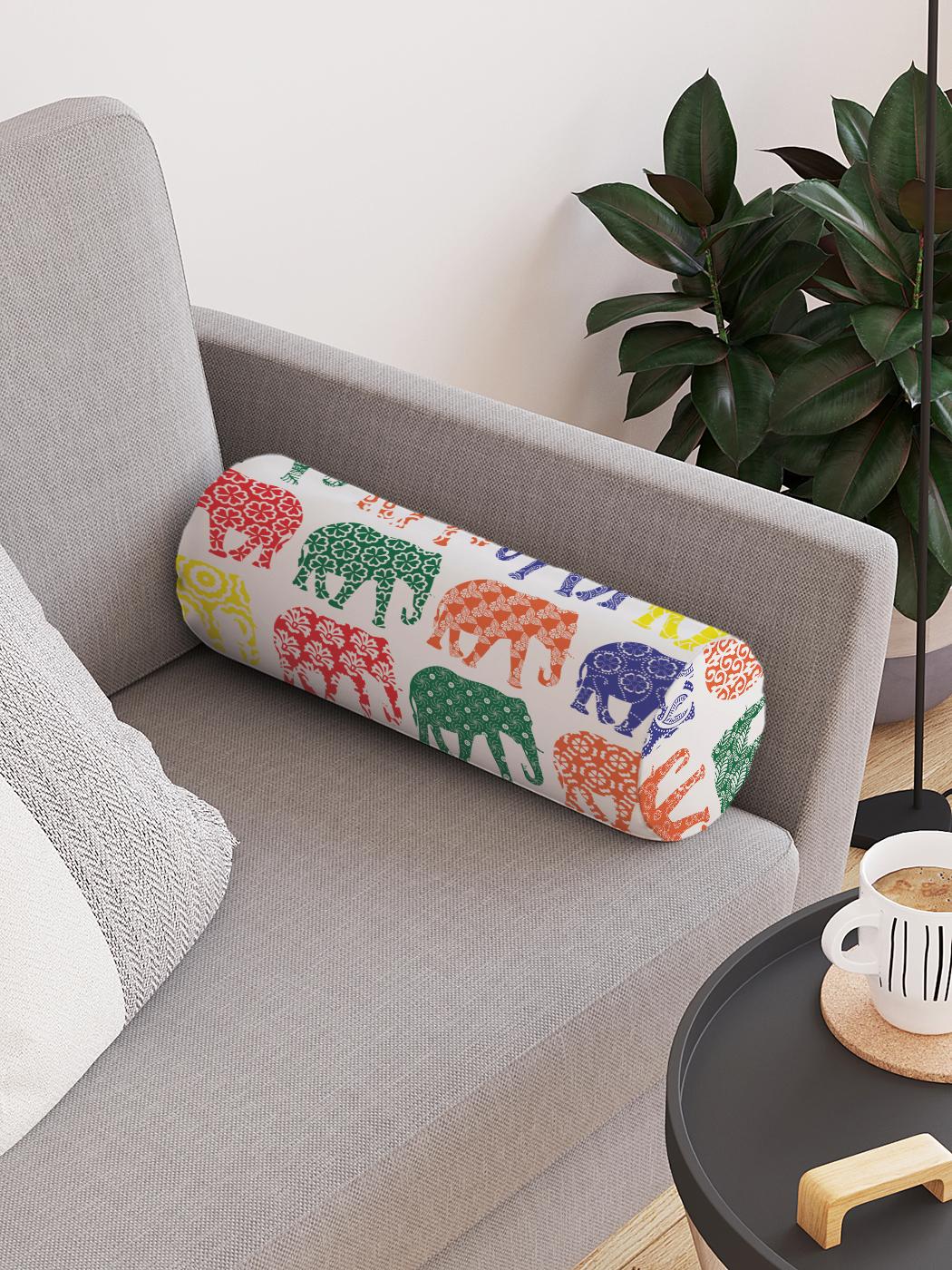 Декоративная подушка-валик «Узоры для всех слонов» на молнии, 45 см, диаметр 16 см