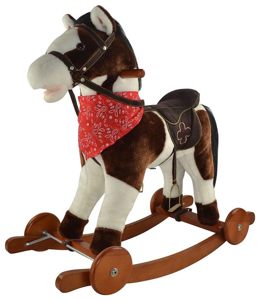 Купить PITUSO Качалка-Лошадка с колесами, плюш., муз., Белый с коричневым, 74*30*64см, Качалки детские