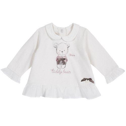 Купить 9006776, Лонгслив Chicco для девочек р.86 цв.белый, Кофточки, футболки для новорожденных