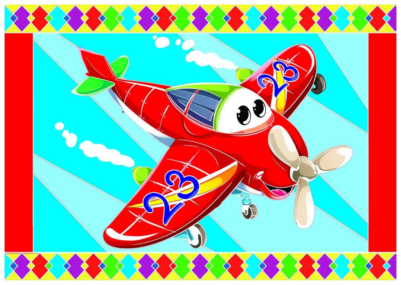 Гравюра Рыжий кот А5 с цветным основанием Самолетик