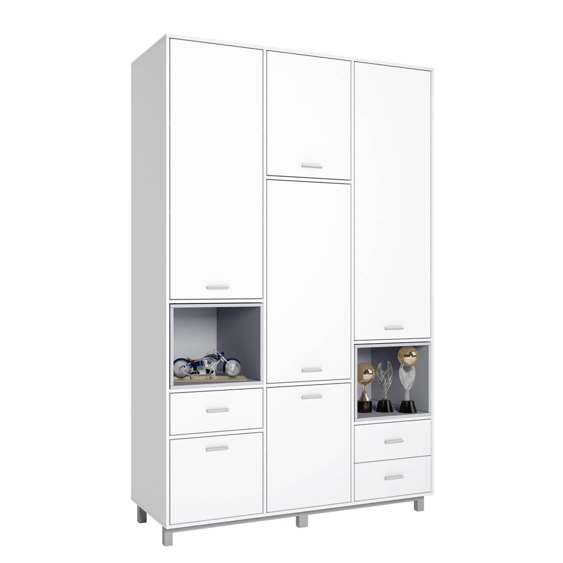 Купить Детский шкаф трехсекционный Polini kids Mirum 2335, белый/серый, Шкафы в детскую комнату
