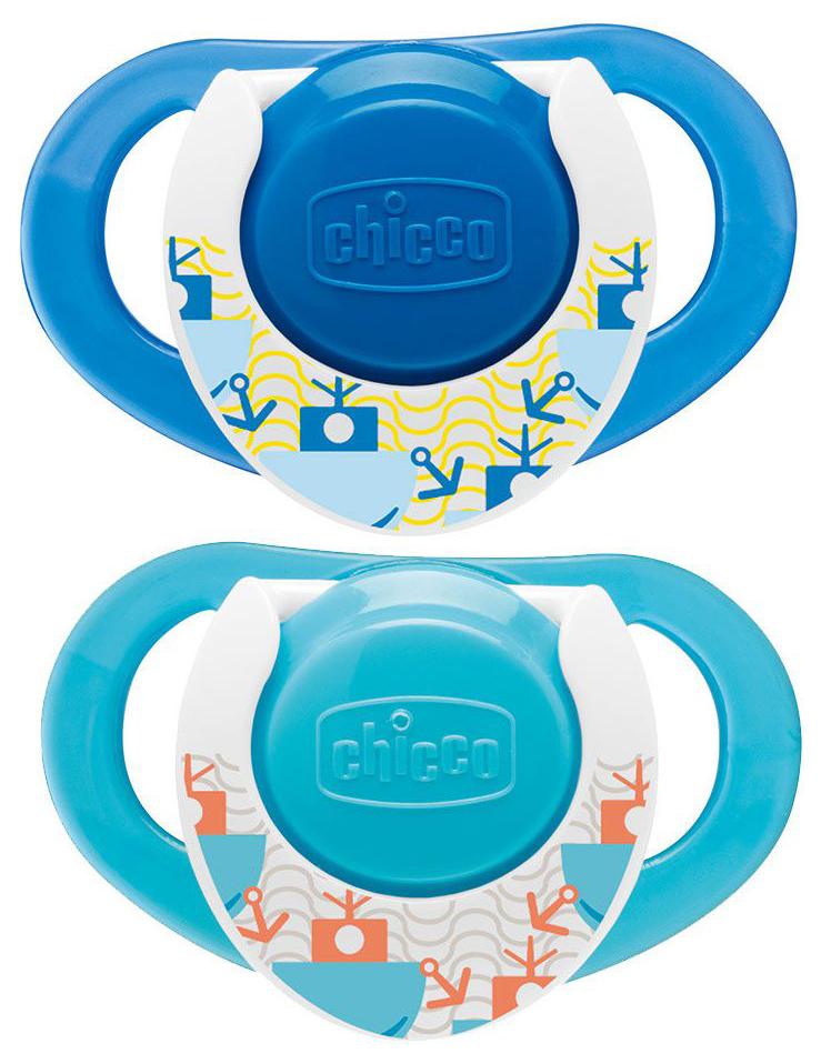 Купить Physio Compact 'Морская' 12м+, Пустышка силиконовая Chicco Physio Compact Морская 12 мес 2 шт.,