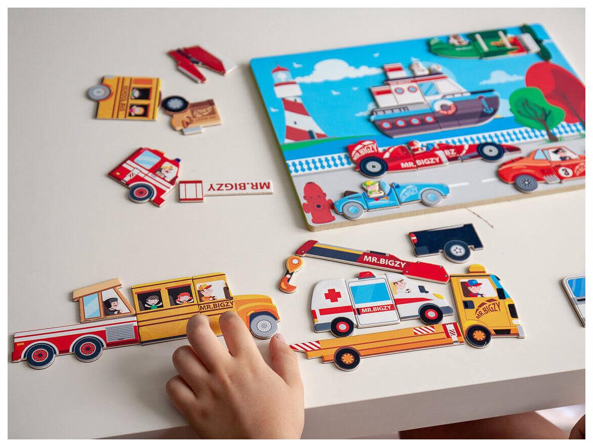 Купить Развивающая игрушка АльДенте Mr. Bigzy Магнитная игра Транспорт, Пазлы для малышей