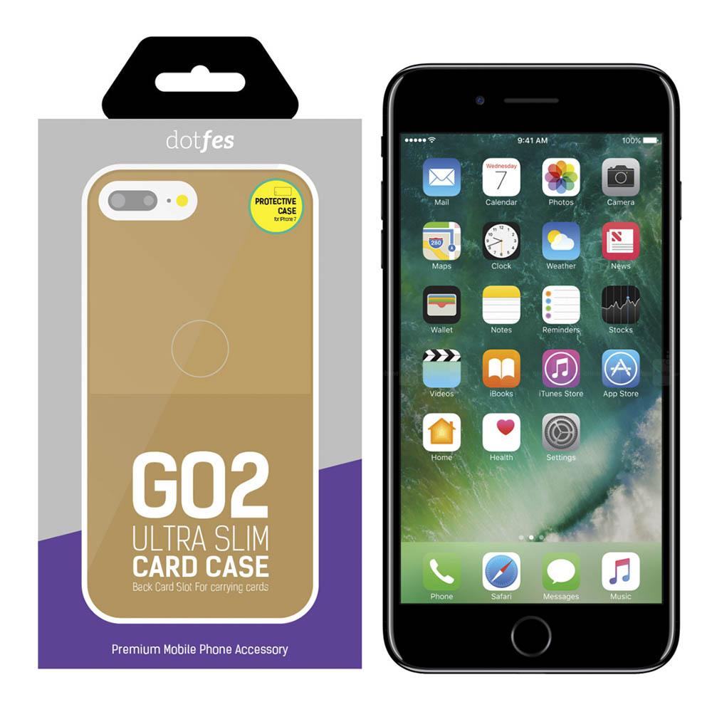 Чехол Dotfes G02 Carbon Fiber Card Case для iPhone 7/8 (gold)