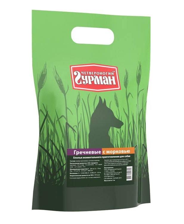 Каша для собак Четвероногий Гурман Гречневая, с морковью, 1кг фото