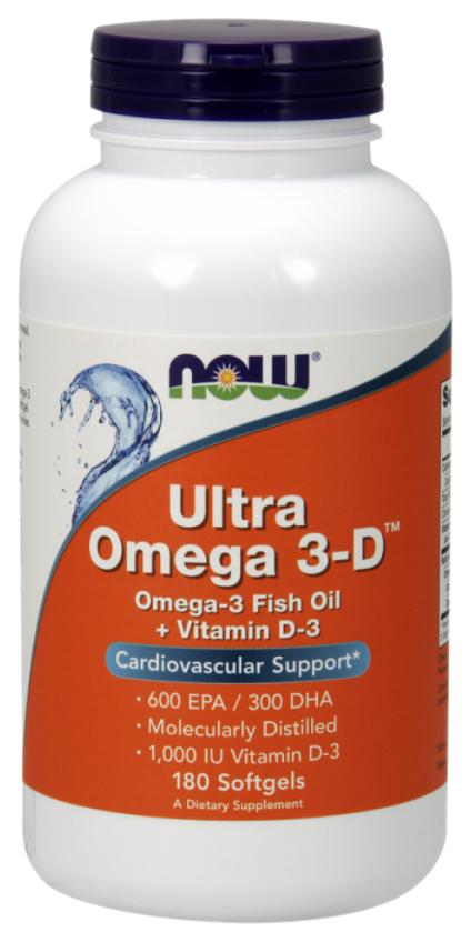 Купить Omega-3 NOW Ultra Omega-3D 600 Epa/300 Dha + Vit D-3 180 капс.