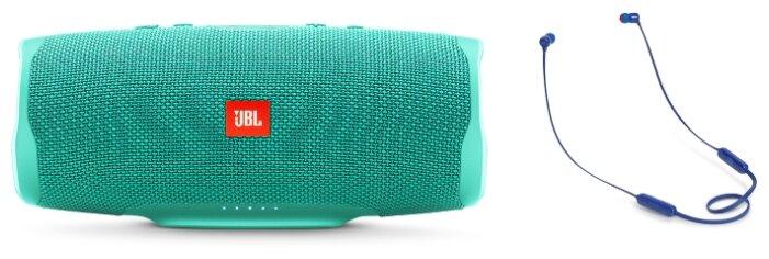 Беспроводная акустика JBL Charge 4 Teal + Наушники JBL T110BT Blue фото