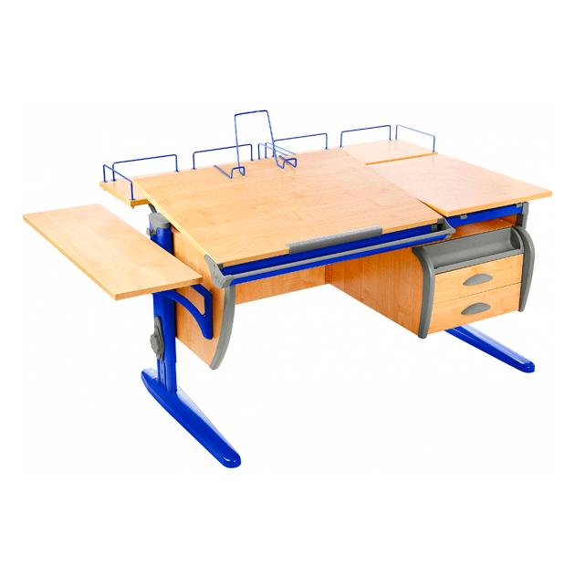 Парта Дэми СУТ 17-05 120 см+ приставки+боковая приставка+ тумба, клен, синий,