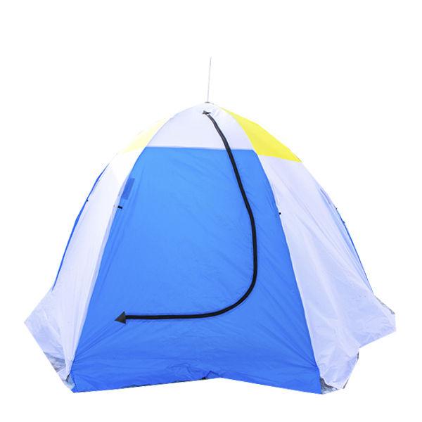 Палатка-автомат Стэк 3 трехместная белая/голубая
