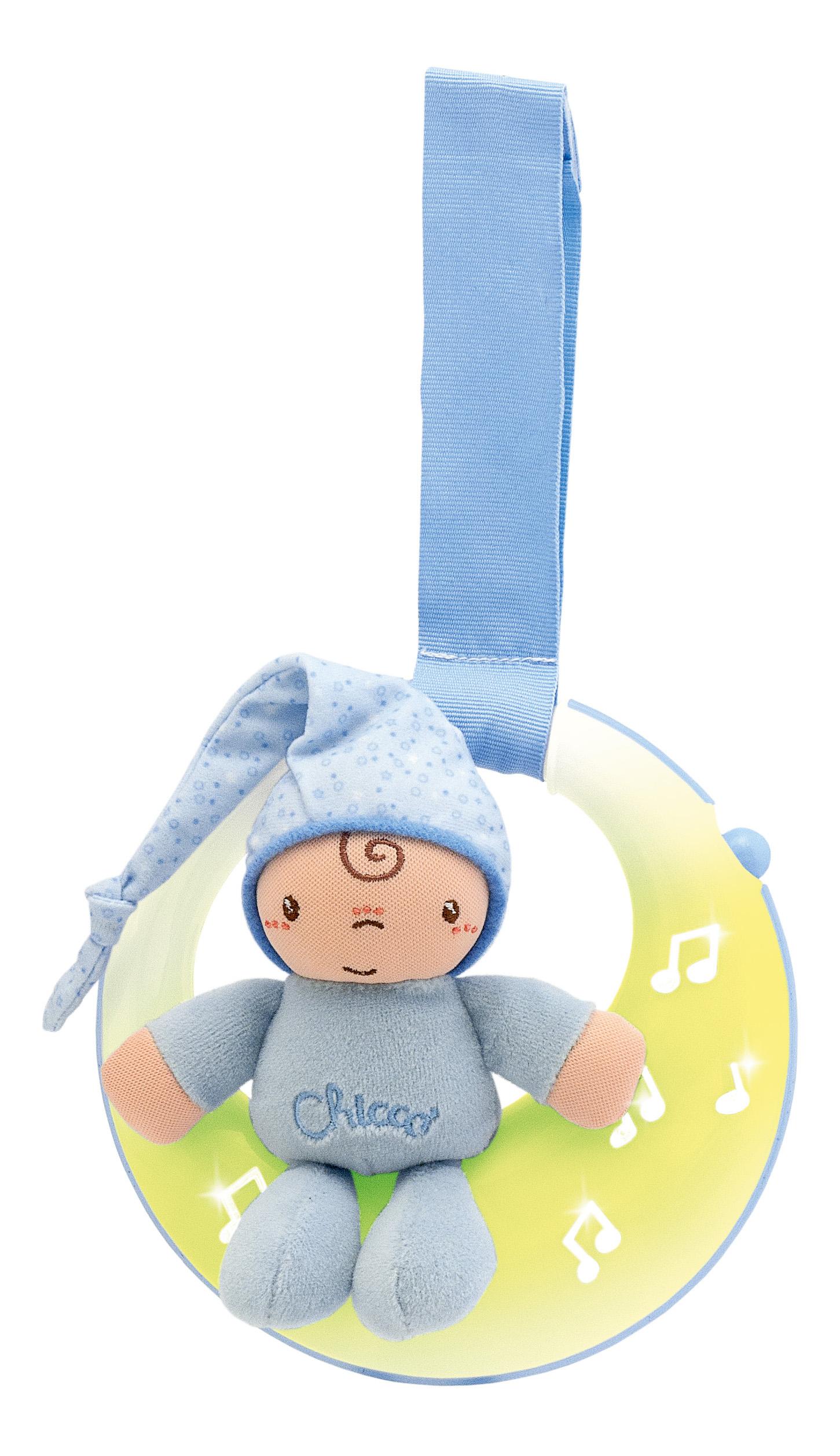 Купить Подвеска для кроватки музыкальная Chicco Спокойной ночи, луна голубая 7804, Развивающие игрушки