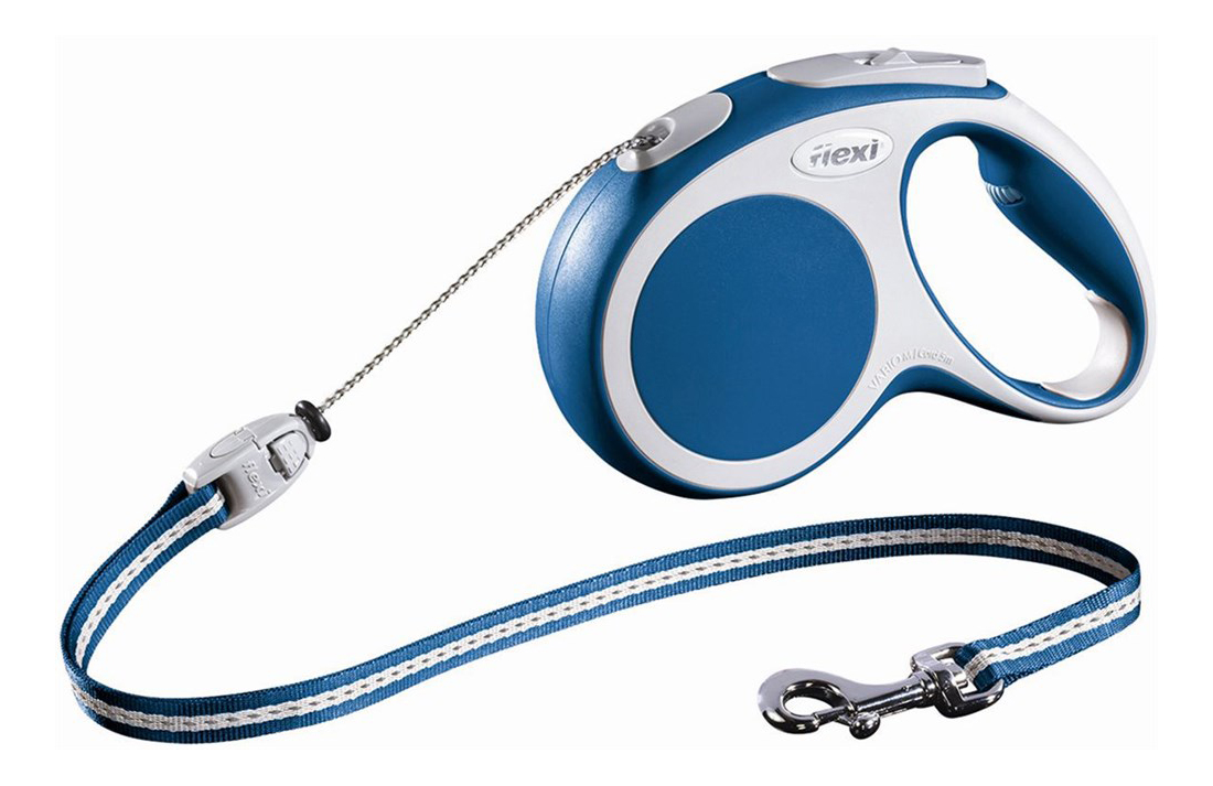 Рулетка-поводок FLEXI Vario Basic S до 12кг трос, 5м, синяя