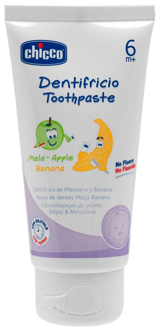 Купить Зубная паста, Детская зубная паста Chicco Зубная Паста С 6 Мес, Яблоко-Банан 50 Мл, Детские зубные пасты