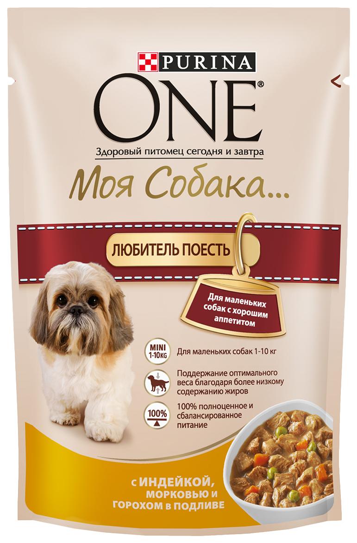 Влажный корм для собак Purina One Моя Собака... Любитель Поесть, индейка, овощи, 100г