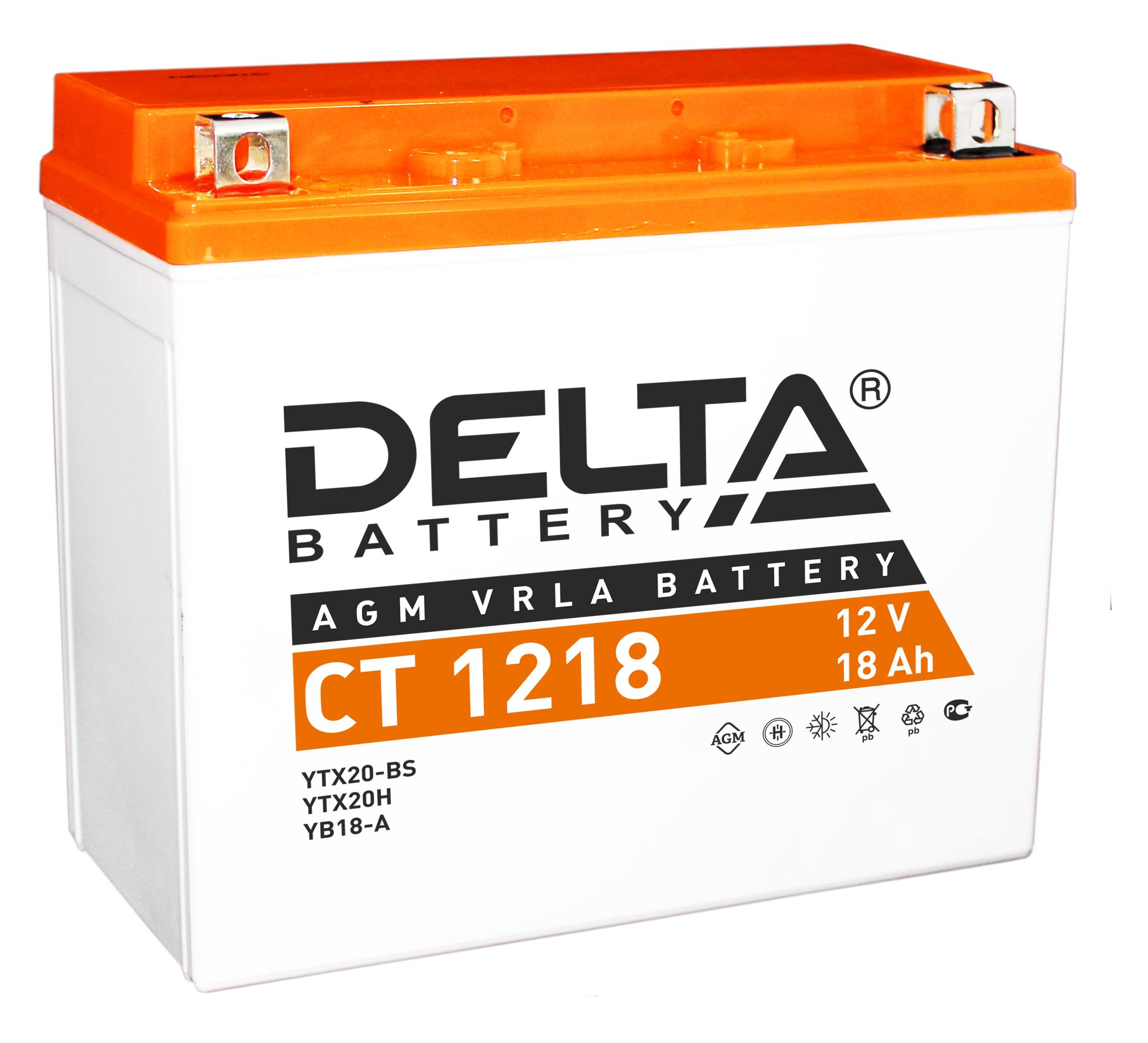 Аккумулятор автомобильный Delta CT 1218 18 Ач фото