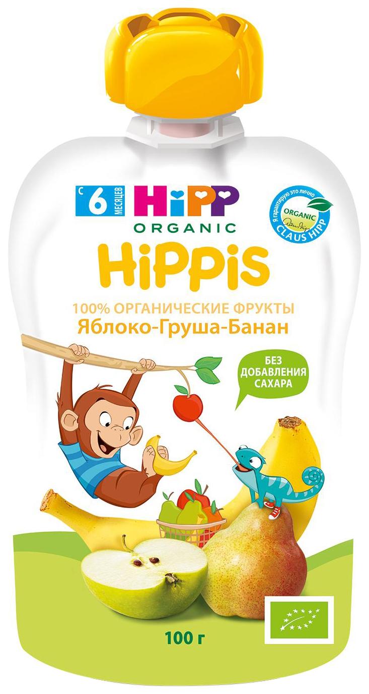 Купить Яблоко, груша, банан 100 г, Пюре фруктовое HiPP Яблоко, банан с 6 мес 100 г, Детское пюре